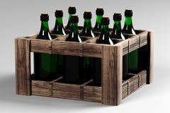 Doos met flessen wijn Royalty-vrije Stock Foto's