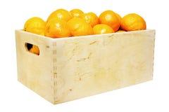 Doos met mandarins Stock Foto's