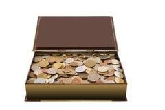 Doos met muntstukken Royalty-vrije Stock Fotografie