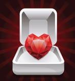 Doos met robijn in vorm van hart Stock Afbeelding