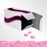 Doos met roze pillen Stock Foto