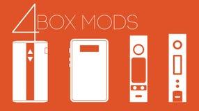 doos 4 mods plaatste Stock Foto