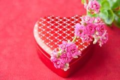Doos van chocolade en bloemen voor de dag van Valentijnskaarten. Royalty-vrije Stock Foto's