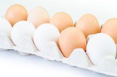Doos van karton de ruwe eieren op witte achtergrond Stock Afbeelding