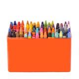 Doos van kleurpotloden Stock Foto's