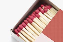 Doos van Matchsticks stock afbeeldingen