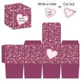 Doosmalplaatje met bloemenpatroon en hart Stock Afbeelding