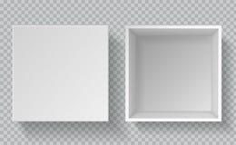 Doosmodel Hoogste menings realistische document verpakking, lege van het kartonpakket open witte kartoncontainer van de consument royalty-vrije illustratie