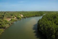 Dopływ Rzeczny Gambia blisko Makasutu lasu w Gambia, Obrazy Royalty Free