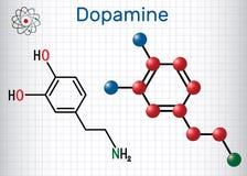 Dopamine DA molecule. Structural chemical formula and molecul. E model. Sheet of paper in a cage. Vector illustration stock illustration