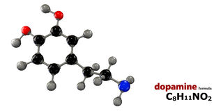 Dopamine neurotransmitter molecule. 3d Illustration of Dopamine neurotransmitter molecule vector illustration