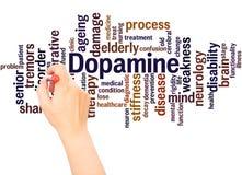 Dopamine słowa chmury ręka pisze pojęciu royalty ilustracja
