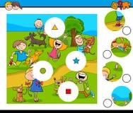 Dopasowanie kawałków łamigłówka z dzieciakami i zwierzętami domowymi Zdjęcia Stock