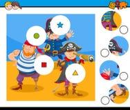 Dopasowanie kawałków łamigłówki gra z piratami Ilustracja Wektor