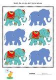 Dopasowanie ocieniać grę - słonie Zdjęcie Stock