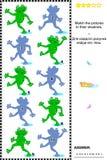 Dopasowanie ocieniać wizualną łamigłówkę - żaby Zdjęcia Stock