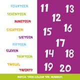 Dopasowywa colour wtedy liczby 11, 20 Dzieciaki formułują uczenie grę, worksheets z prostymi kolorowymi grafika dzieci edukacyjny royalty ilustracja