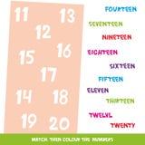 Dopasowywa colour wtedy liczby 11, 20 Dzieciaki formułują uczenie grę, worksheets z prostymi kolorowymi grafika dzieci edukacyjny ilustracji