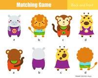 Dopasowywanie gra Edukacyjna dziecko aktywność z ślicznymi zwierzętami Uczyć się z powrotem i przód ilustracja wektor
