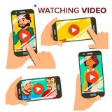 Dopatrywania wideo Na Smartphone wektorze Set Telefon komórkowy Czerwony sztuka symbolu guzik Wideo Media Player zastosowanie odo ilustracji