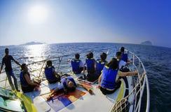 dopatrywanie łódkowaty wieloryb Fotografia Royalty Free