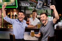 Dopatrywanie TV w barze. obrazy stock