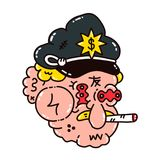 Dope cop policeman smoke marijuana. Blunt. Vector modern style illustration. Dope print design for t-shirt Stock Image