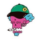 Dope skull in a cap smoke marijuana. Blunt. Vector modern style illustration. Dope print design for t-shirt Royalty Free Stock Photos
