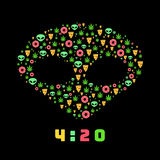 Dope trip flat vector pattern with marijuana leafs, donuts, pizza slices and aliens. Isolated on background. T-shirt design. Dope trip flat vector pattern with Stock Photography