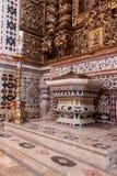 Dopfuntet av Santaremen ser domkyrkan aka Nossa Senhora da Conceicao Church Arkivfoton