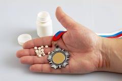 Doping con los atletas rusos fotos de archivo libres de regalías