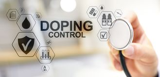 Doping Control Sports Analysis Test Laboratory. Medical concept on virtual screen. Doping Control Sports Analysis Test Laboratory. Medical concept on virtual stock photo