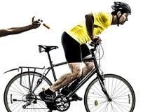 Doping de la silueta del hombre del concepto del deporte Imagenes de archivo