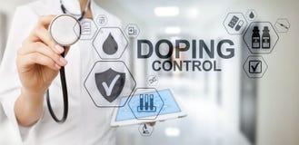 Doping del laboratorio de prueba del análisis de los deportes del control Concepto médico en la pantalla virtual fotografía de archivo