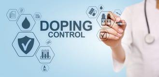 Doping del laboratorio de prueba del an?lisis de los deportes del control Concepto m?dico en la pantalla virtual imagenes de archivo