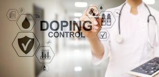 Doping del laboratorio de prueba del an?lisis de los deportes del control Concepto m?dico en la pantalla virtual imagen de archivo