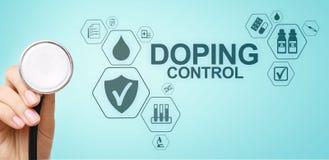 Doping del laboratorio de prueba del an?lisis de los deportes del control Concepto m?dico en la pantalla virtual fotos de archivo libres de regalías