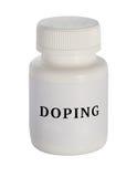 doping Plastic Geneeskundeflesje op een witte achtergrond stock foto's