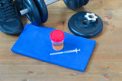 Doping for sports  ready for workout. Things are on the table for the sport and doping for training Royalty Free Stock Photography