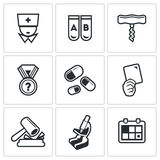 Doping test icons set. Vector Illustration. Royalty Free Stock Photo