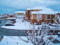 Dopo gli appartamenti della tempesta della neve Fotografie Stock