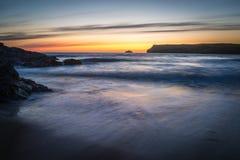 Dopo il tramonto a Polzeath Cornovaglia Fotografie Stock Libere da Diritti