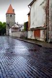 Dopo la pioggia Via e torre di un muro di cinta Vecchia città Tallinn, Estonia fotografia stock libera da diritti