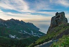 Dopo la vista di tramonto sul villaggio di Almaciga, Tenerife Immagine Stock Libera da Diritti