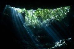 Doppad Sinkhole i Solomon Islands Arkivbilder