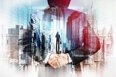 Doppelbelichtung der Geschäftsmannhand Führer zeigend stock abbildung