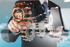 Doppelbelichtung der Hand Internet von Sachen (IoT) zeigend Stockfotografie
