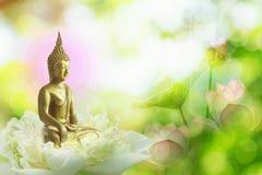 Doppelbelichtung der Lotosblume oder der Seerose und des Gesichtes von Buddha-Statue lizenzfreies stockfoto