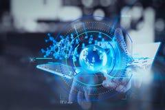 Doppelbelichtung des Geschäftsmannes zeigt moderne Technologie als concep Lizenzfreies Stockbild