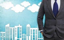 Doppelbelichtung des jungen Geschäftsmannes Lizenzfreies Stockbild